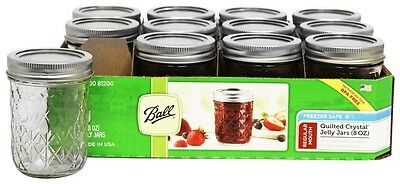 Ball - Regular Mouth 8 oz. Quilted Crystal Jelly Mason Jars Freezer Safe - 12