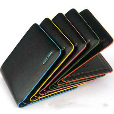 Men's Bifold Leather Credit ID Card Holder Thin Wallet Billfold Handbag Purse