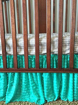 Crib Skirt, Mint Green Dust Ruffle for Nursery Bedding Bedskirt Decor, New, Free