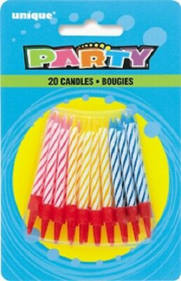 20 birthday party candles pink yellow blue twisted stripes with holders