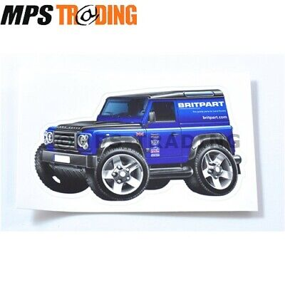 LAND ROVER BRITPART CARTOON DEFENDER DECAL STICKER 100MM x 60MM
