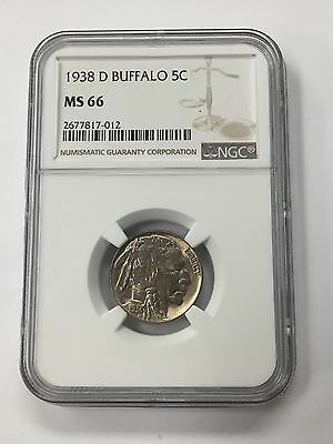 1938 D Buffalo 5C Nickel NGC MS 66 D100