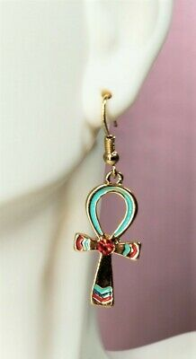 Ancient Egyptian Ankh Earrings Pair Lead Free Pewter Jewelry Accessory Vanity