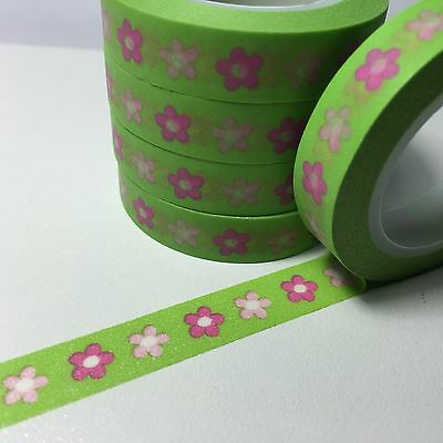 Washi Tape Thin Pink Flower On Green 10Mm Wide X 10Mt Roll Scrap Plan Craft Wrap