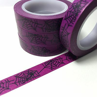Washi Tape Thin Web On Violet Halloween 10Mm Wide X 10Mt Roll Plan Craft Wrap