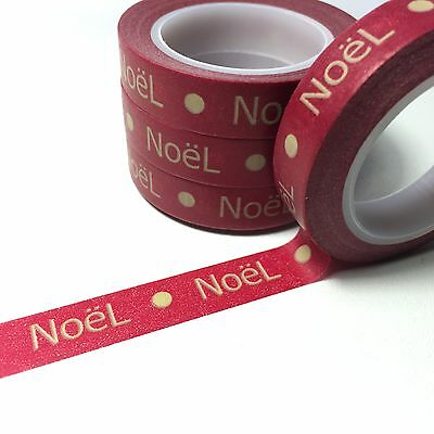Washi Tape Thin Noel On Ruby 10Mm Wide X 10Mtr Roll Scrap Plan Craft Wrap
