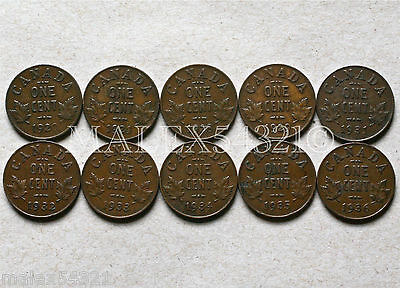 🇨🇦Canada 1920 To 1936 Set Of 1 Cent (10 Coins)