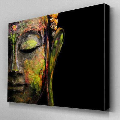 AB943 MODERN GREEN yellow buddha Canvas Wall Art Abstract Picture ...