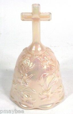 """Fenton Glass Bell - Iridescent Glass with Cross Handle - Missing the """"Dinger"""""""