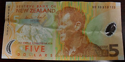 1999 New Zealand 5 Dollar Note, P#185a