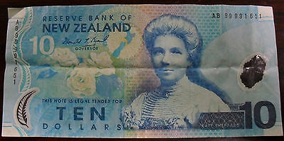 1999 New Zealand 10 Dollar Note, P#186a
