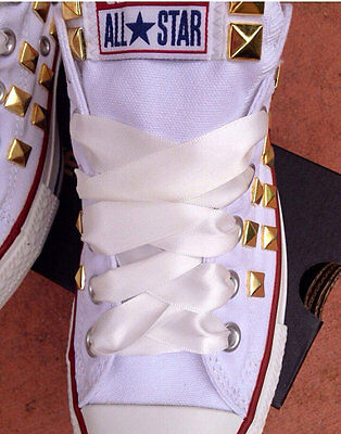 Satin Ribbon Shoelaces for Converse Shoes Wedding,  White, Red, Pink, Black,