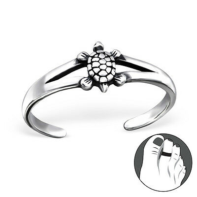 925 Sterling Silver Toe Ring Turtle Adjustable E-Coated Body Jewellery Gift