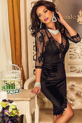 Abito cono ricamato pizzo nudo Trasparente Scollo Midi Lace Velvet Party Dress L