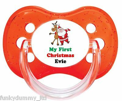 Personalised Dummy Pacifier Soother,all Teats,sizes & Colours, First Christmas 5