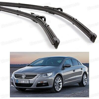 2Pcs Car Front Windshield Wiper Blade Bracketless for Volkswagen CC 2008-2011