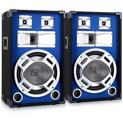 "1200W BLUE LED DJ PA SPEAKERS 12"" BASS WOOFER 3-WAY PASSIVE PAIR 2x 600W NEW"