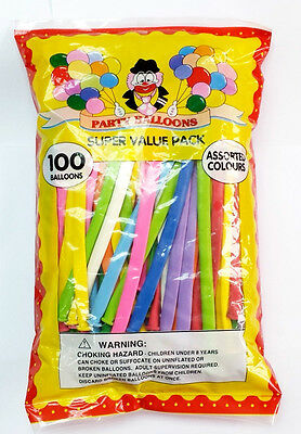 PACK OF 100 PARTY BALLOONS MIXED COLOURS Traditional Modelling MAGIC BALLONS