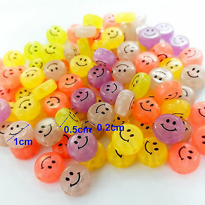 FREE Lot 100PCS bulk SMILE round GLOW IN DARK color Charms Loose Beads 10mm CRAF