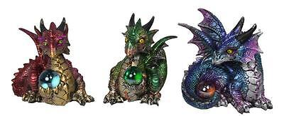Set of 3 Mystical Baby Dragons with Coloured Light Up Balls 11cm  (Brand New)