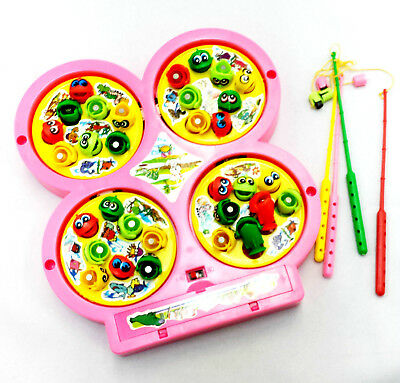 Pink Rotating Magnet Let's Go Fishing Game Kids Educational party Gift Toy