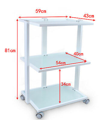 Salon Trolley with 3 toughened glass shelves and built in lamp holder