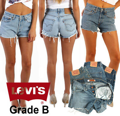 Vintage Levis High Waisted Denim Shorts Hotpants Size 6 8 10 12 14 16 18 Grade B