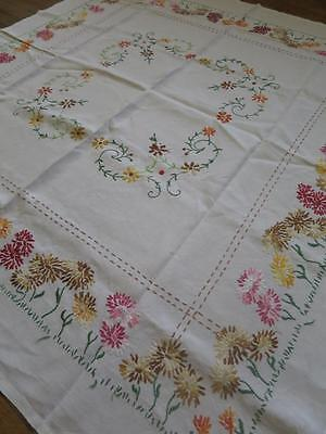 Antique Linen Table Cloth- Hand Embroidery of Lazy Daisies