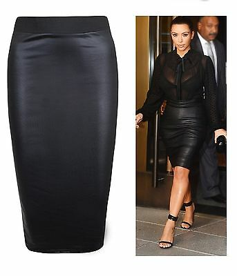 Womens Wet Look High Waisted Bodycon Midi Faux Leather Pencil Skirt Uk Size 8-26