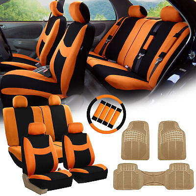 Orange Black Car Seat Covers for Auto w/Steering Cover/Belt Pads/Floor Mat