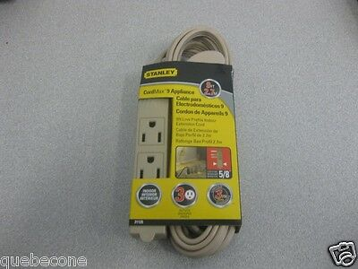 ***NEW***Stanley Cordmax 9'- 3 outlet low profile indoor extension cords