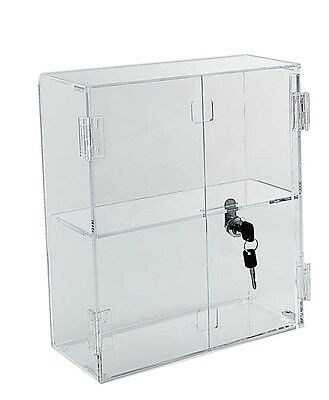 """16""""x16"""" Locking Display Case with Hinged Front Doors & Shelves - FREE SHIPPING"""
