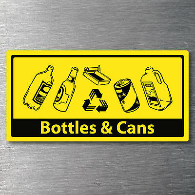 Recycling bottles & cans for bin sticker 7 year vinyl water & fade proof