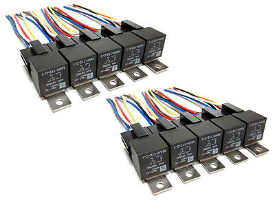10pk - 5 Pin SPDT 40 Amp Relays & Sockets Car Electrical Installs Relay