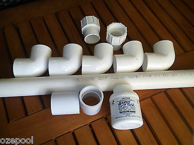 POOLRITE Pump replacement fittings and Pipe kit, replace Green flex hose, 40mm