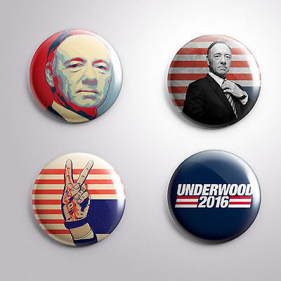 4 HOUSE OF CARDS FRANK UNDERWOOD 2016 - Pinbacks Badge Button Pin 25mm 1''