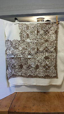 Vintage Tablecloth Leaves Print Natural & Brown Cottage Chic country  PRIM