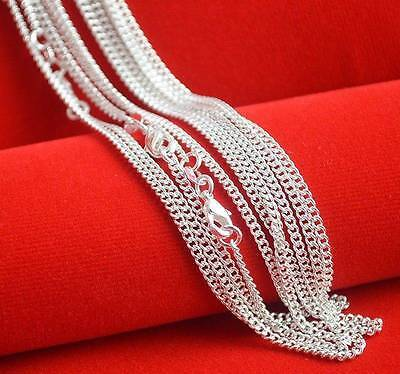 "Wholesale 10pcs 925 Sterling Solid Silver Plated 2mm Curb Chain Necklace 16""-30"""