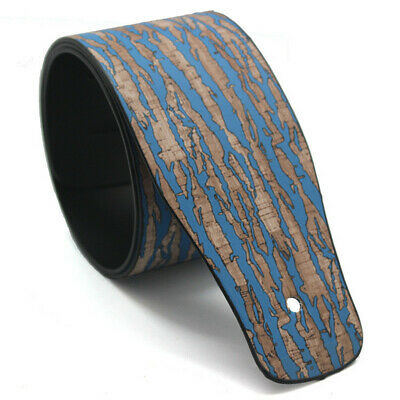 Adjustable Blue Wood Color PU Leather Width Strap Belt for Folk Acoustic Guitar