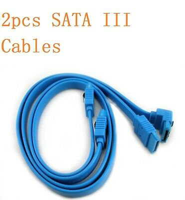 x2 NEW GIGABYTE SATA 3 III 3.0 Data Cable 6Gbps Blue for HDD SSD Angle Lead Clip
