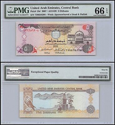 United Arab Emirates - UAE 5 Dirhams, 2007, P-19d, PMG 66