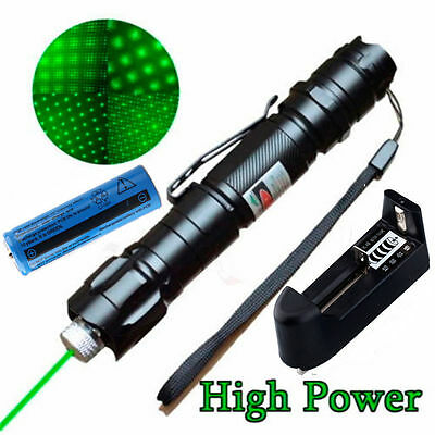 Military 5mw 532nm Focus Burning Green Laser Pointer Pen+18650+Battery Charger Y