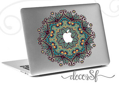 Mandala Flowers macbook sticker | Laptop stickers | Green Decal - Clear Vinyl