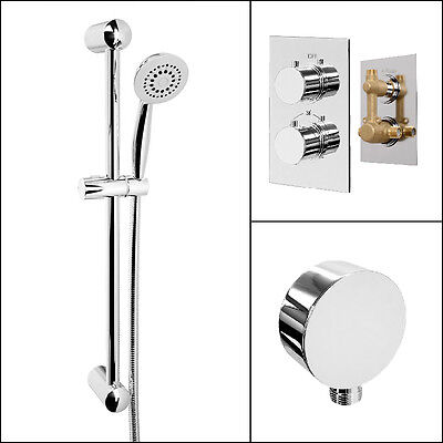 Round Concealed Thermostatic Shower Valve Rail Kit Wall Outlet Chrome
