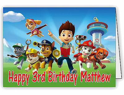 Birthday Card Personalised with Paw Patrol Print - Any Name & Age