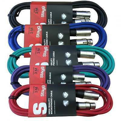 Stagg 3M XLR Male to Female Microphone Lead & Audio Signal Cable Balanced -Each