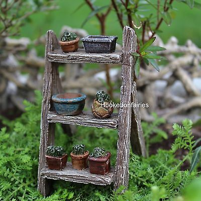 Miniature Plant Ladder  pots on ladder included # 1149  Fairy Garden Dollhouse