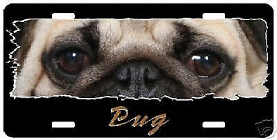 """Pug    fawn """" The Eyes Have It """"  License Plate"""