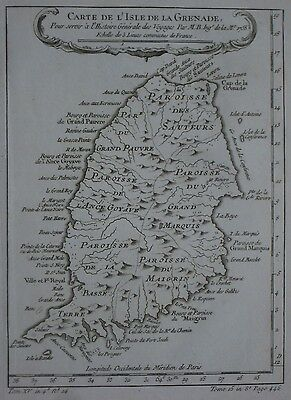 Original 1758 Bellin Parish Map GRENADA French West Indies Fort Royal St. George