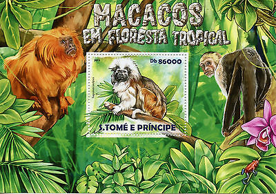 Sao Tome & Principe 2015 MNH Monkeys Tropical Forest 1v S/S Tamarin Macacos